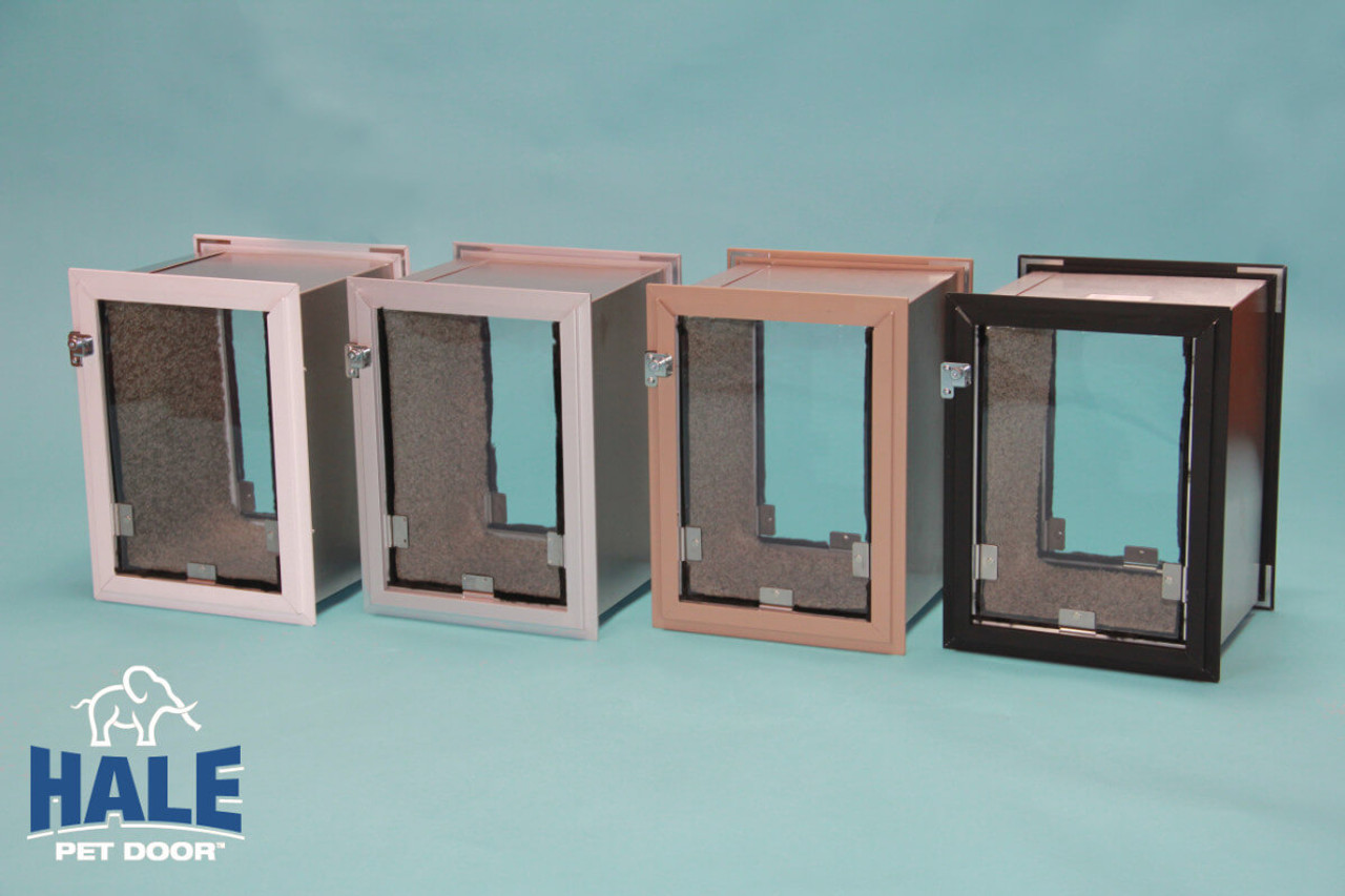Hale dog Doors for walls come in white, satin, arizona beige, and bronze colors