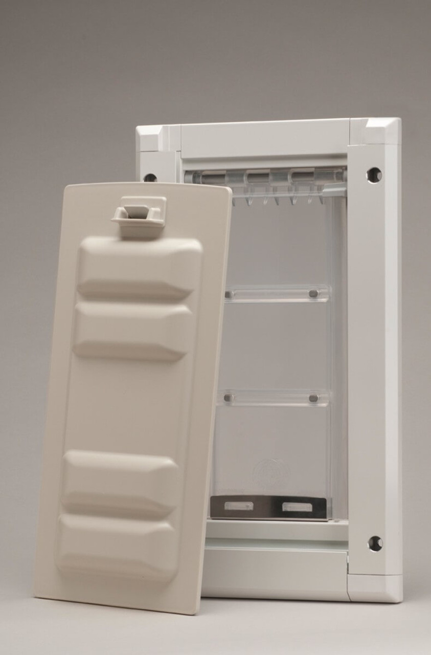 Endura Flap pet doors come with a secure locking cover that has a lock on it so that it can't be lifted out from the outside