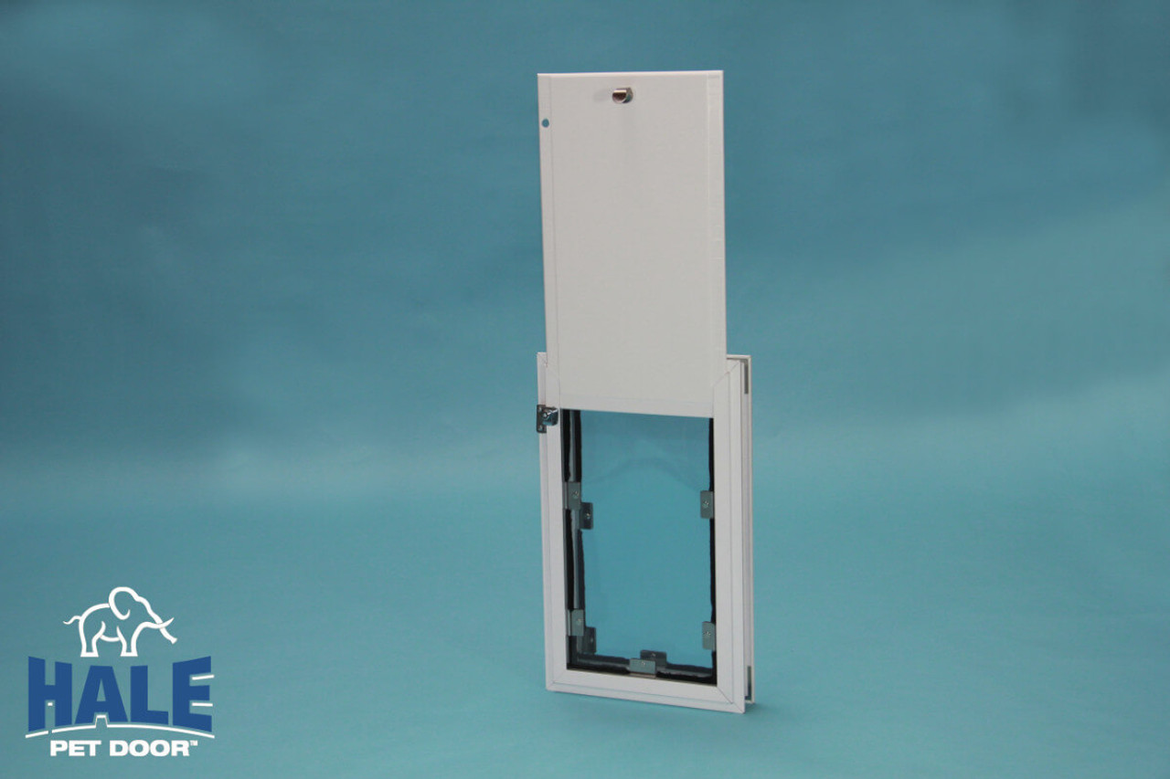 Hale doggy door has magnets on the sides and bottom of the flaps with weather strips to seal flaps to frame