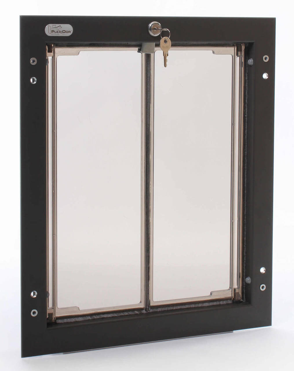 Plexidor dog doors have saloon style double flaps that meet in the center in the medium large and extra large sizes