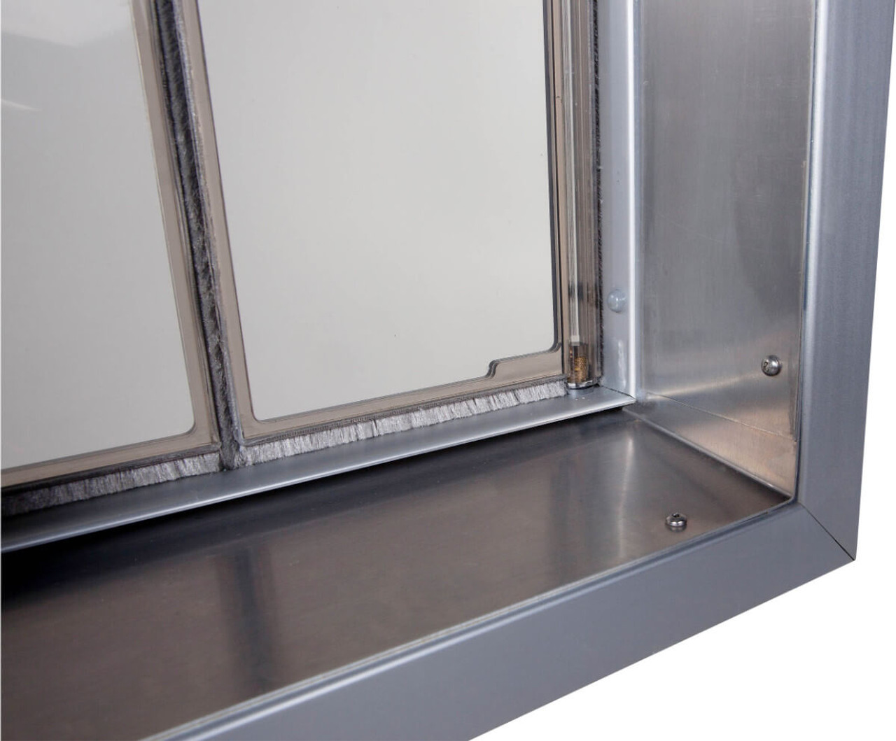 PlexiDor Wall pet doors have an aluminum tunnel that is sloped to let rain water run right back out