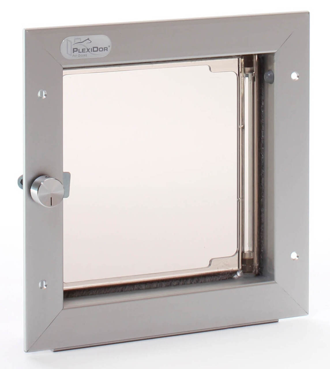 PlexiDor Wall small cat doors have a knob to lock and no cover and will fit cats and small dogs