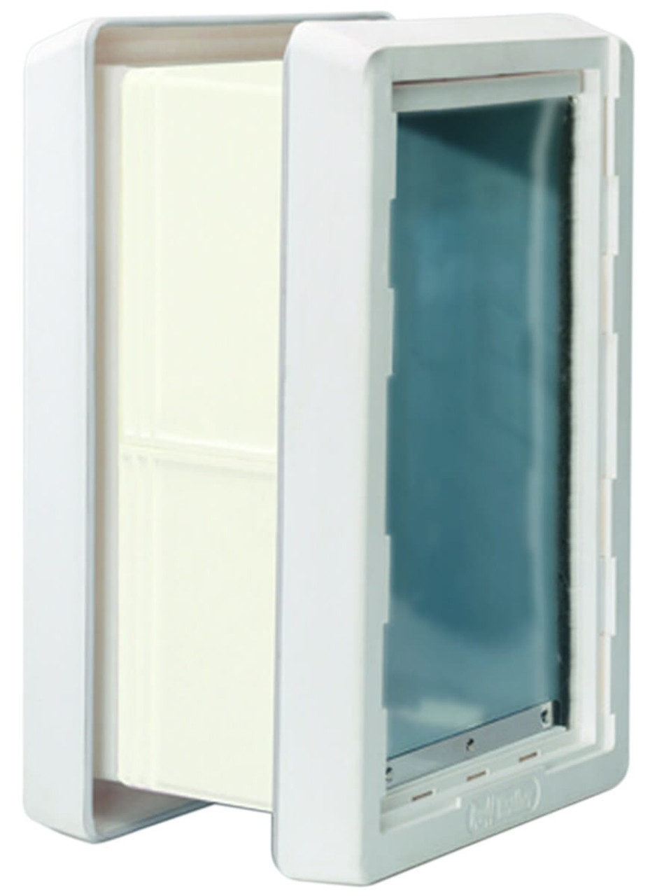 Ideal Ruff Weather doors can be used in wall installations in conjunction with the wall kit shown here