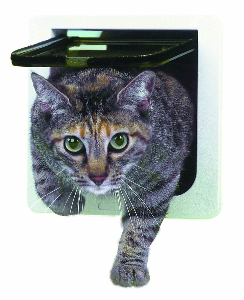 Ideal Cat Flaps have a 4 way lock that can be set for in only out only locked or open