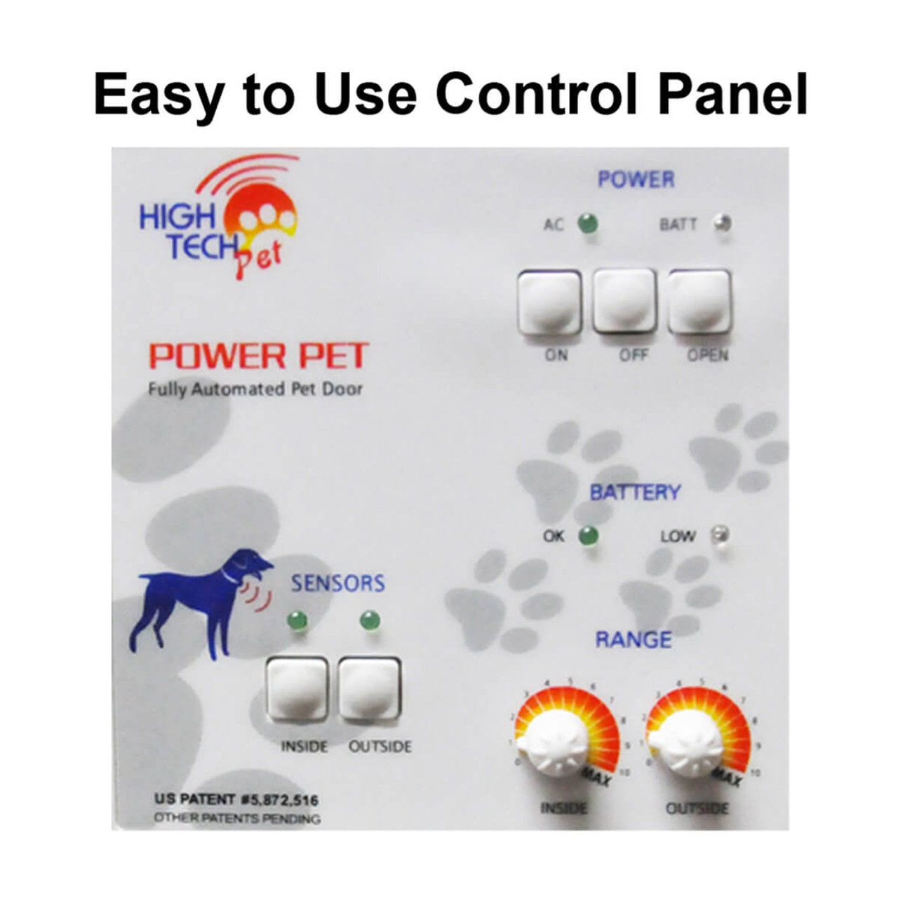 High Tech Electronic Motorized Doggy Doors have settings so you can only let your pets in, or out, or it can be open or locked