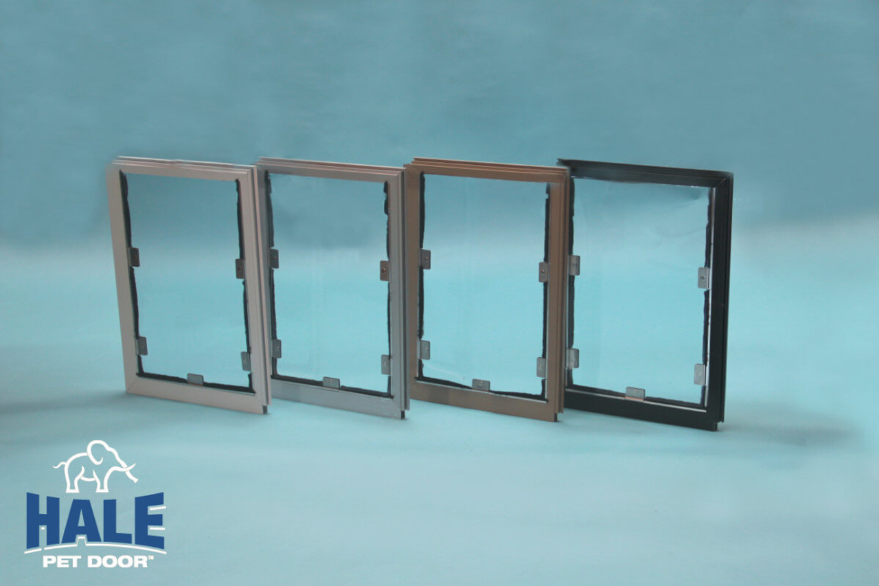 Hale Pet Doors come in four colors satin (silver) white arizona beige and bronze (very dark brown)