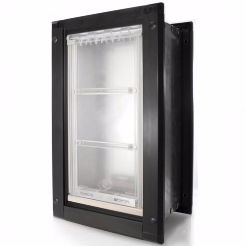 Endura Flap dog doors for walls have weather tight hollow flaps that swing on a hinge to save wear