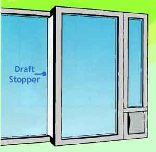 The draft stopper weatherstrip attaches to the back end of the sliding glass door and seals the gap resulting from the installation of a doggy door