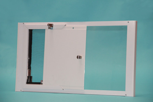 Hale Optiview dog door for windows comes with a locking cover that slides in from the side and securely locks the pet door