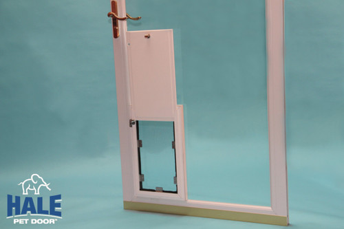 Hale In Glass doggy doors have a single flap in the single pane glass version and double flaps in the dual pane version