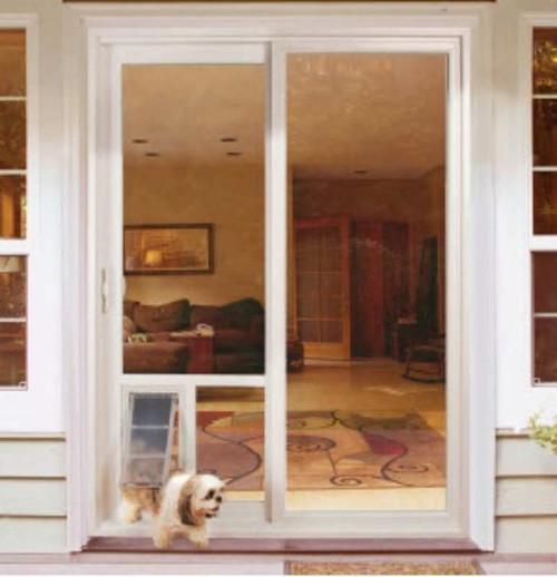Pet Door Guys In Glass Doggy Doors is a replacement window for your sliding door or french door with a new dual pane glass window and pet door