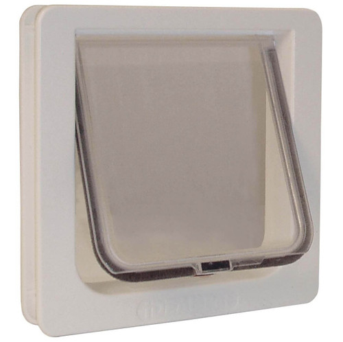 Ideal Cat Flaps use a lexan flap with fuzzy weather stripping around the perimeter and have a magnet to hold them shut