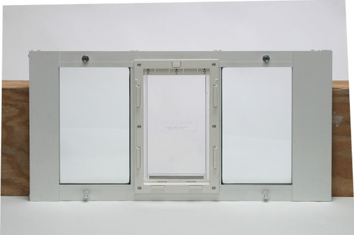 Ideal Fast Sash window pet doors are spring loaded for easy installation and come in small to extra large pet door sizes