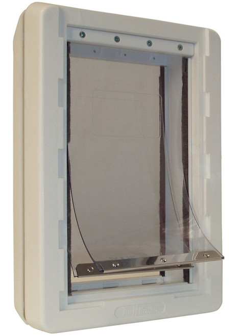 Ideal Ruff Weather doggy doors use vinyl flaps that will occasionally need replacing this image shows the whole door