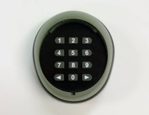 Autoslide motorized sliding glass door opener with iLock can use the key pad shown to open from the outside while maintaining security