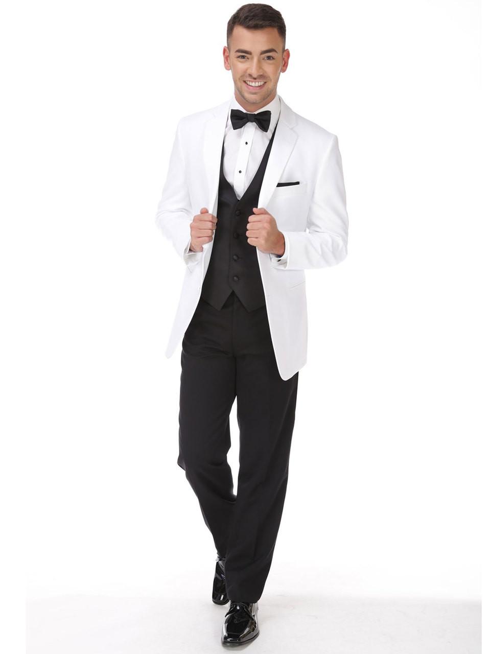 White Tuxedo Two Button Notch | PromHeadquarters.com