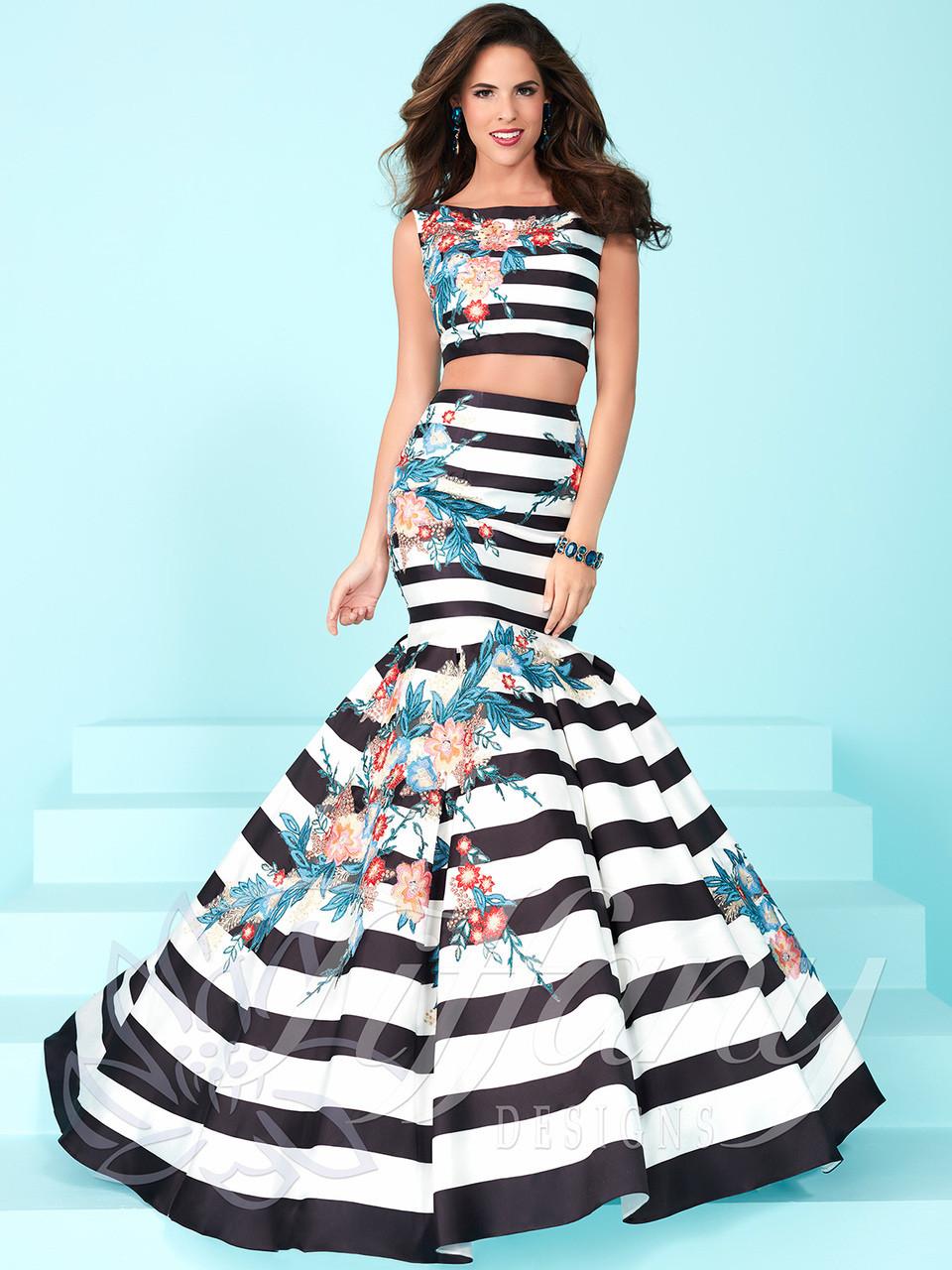 Tiffany Designs 16250 Printed Striped Prom Dress | PromHeadquarters.com