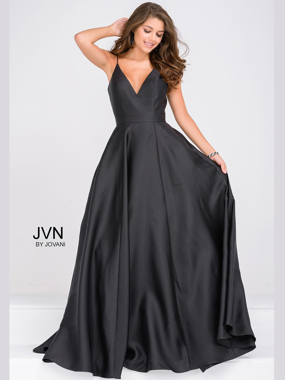 Deep Plunge V-Neck Satin Prom Gown by Jovani JVN48791
