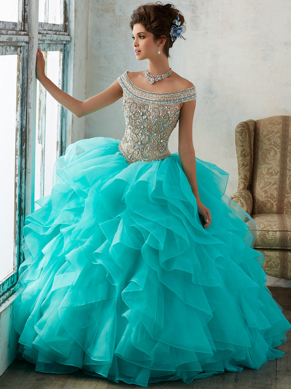 Vizcaya 89138 Off The Shoulder Ball Gown Dress | PromHeadquarters.com