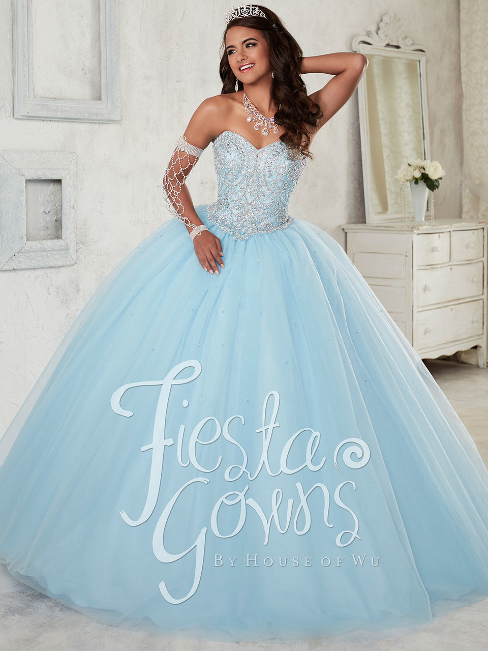 Fiesta 56298 Sweetheart Beaded Ball Gown Dress | PromHeadquarters.com
