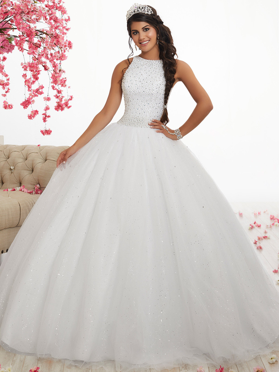 High Neck Ball Gown Fiesta Quinceanera Dress 56318 ...