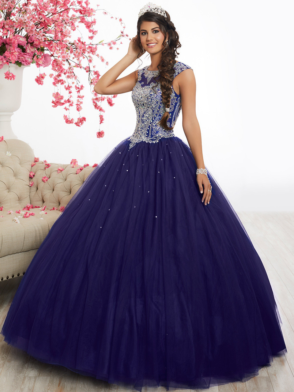 Cap Sleeve Ball Gown Fiesta Quinceanera Dress 56338 ...