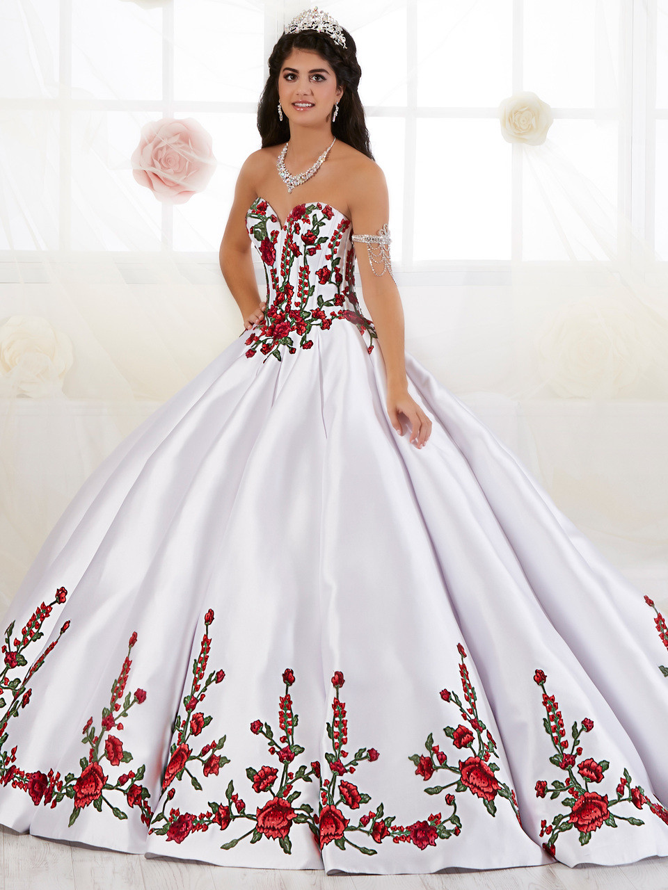 Sweetheart Tiffany Quinceanera Floral Embroidered Dress 26908 ...