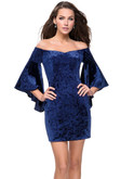 Velvet Off The Shoulder La Femme Short Dress With Bell Sleeves 26640