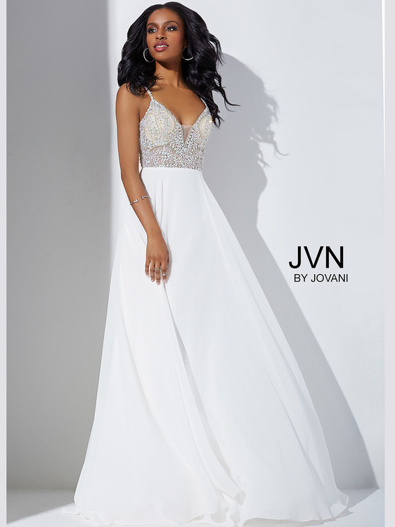 Jovani JVN33701 Beaded Top Chiffon Prom Dress | PromHeadquarters.com