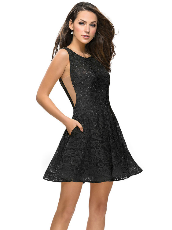 Lace La Femme Short Dress With Pockets 26616