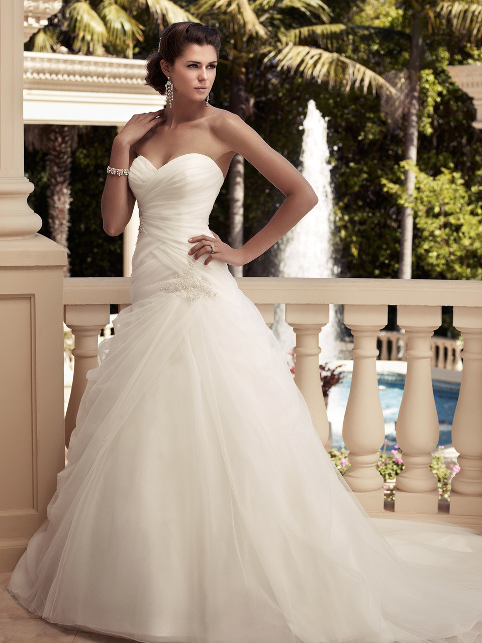 Sweetheart Ruched Organza Bridal Gown Casablanca 2109 - Dimitra Designs
