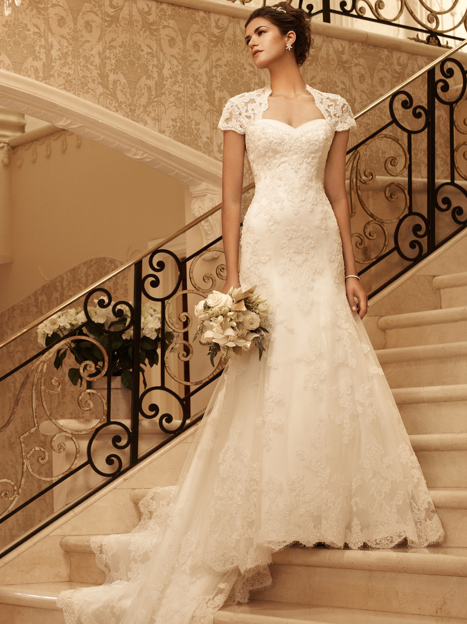 Short Sleeve Fit And Flare Casablanca Bridal Gown 2102 ...