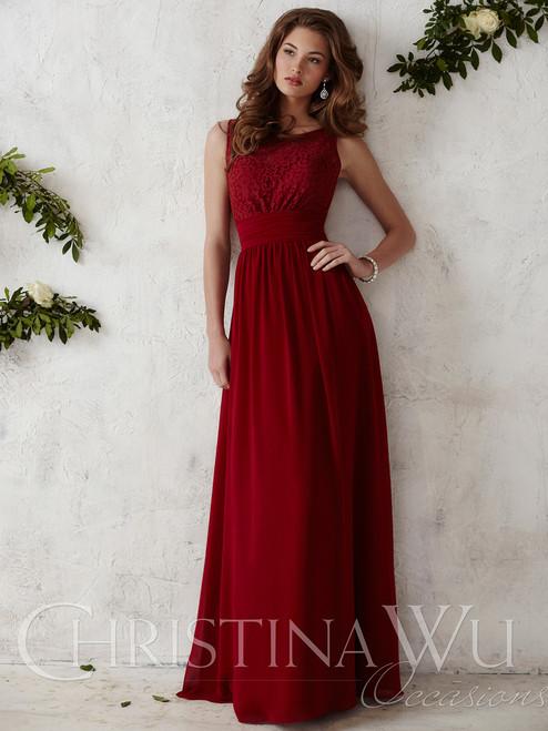 22270bbeac7 Crew Neck Chiffon A-line Christina Wu Occasions Bridesmaid Dress 22675