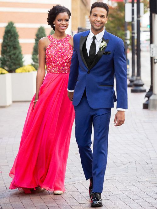 cobalt blue prom tuxedo with satin black lapel at dimitra designs prom tux rental