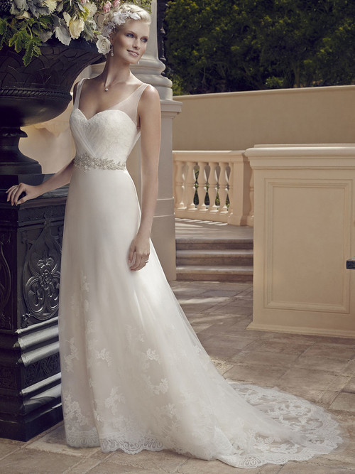 Casablanca 2196 Pleated Tulle Straps Wedding Dress