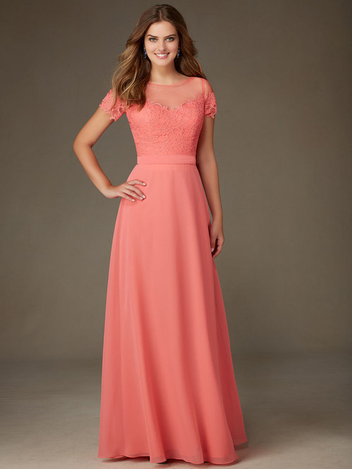 Mori Lee 124 Short Sleeves Bridesmaid Dress