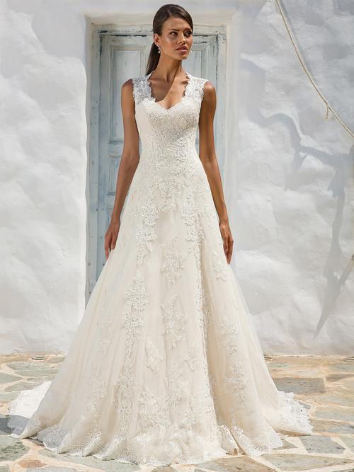 queen anne neckline lace wedding gown justin alexander 8822