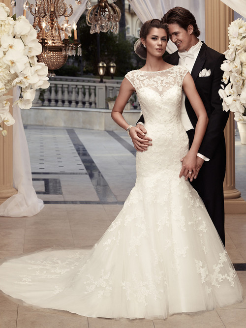 Cap Sleeve Beaded Lace Bridal Gown Casablanca 2110