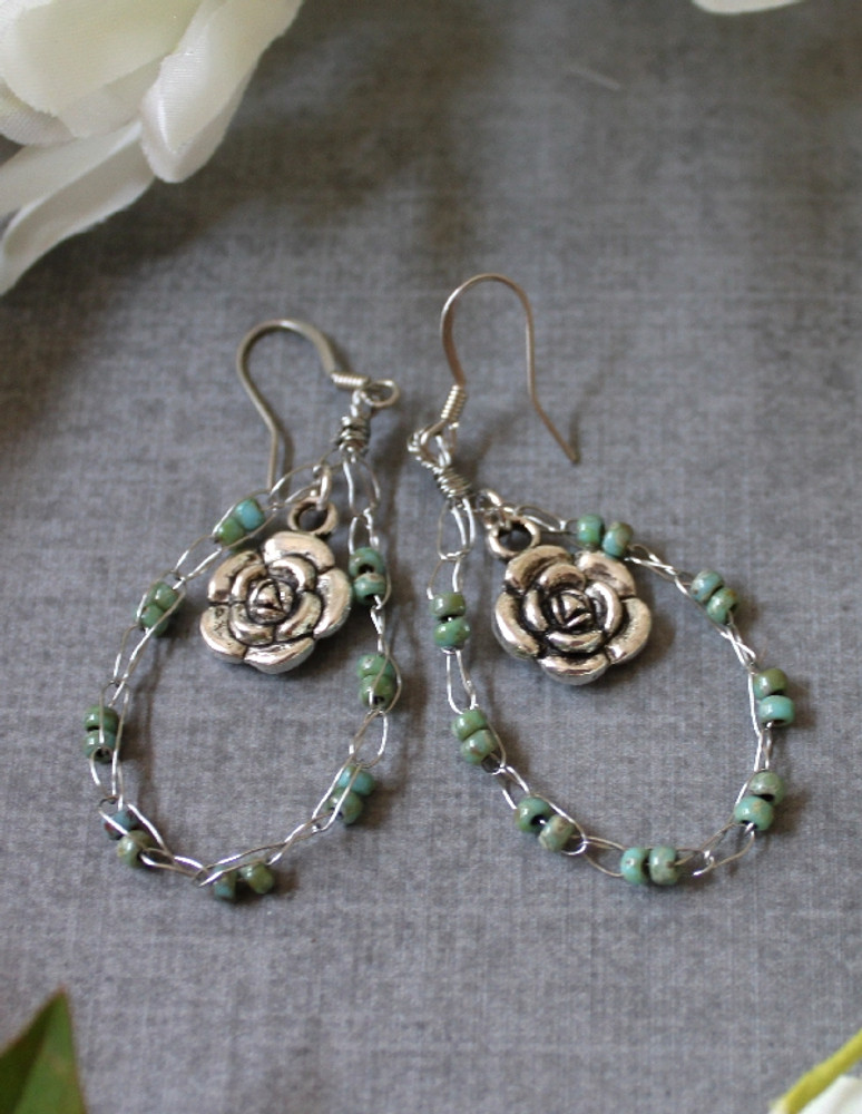 Crochet Wire Beaded Hoop Earrings
