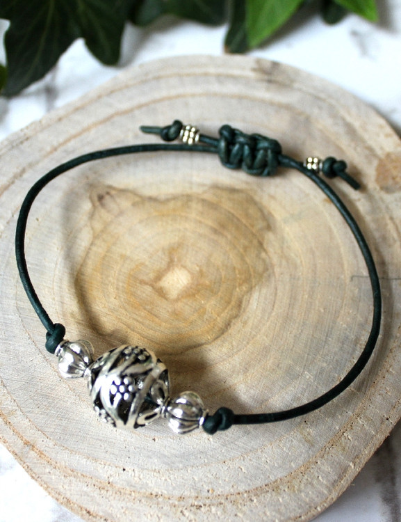 Leather & Charm Bracelet with Macrame Closure