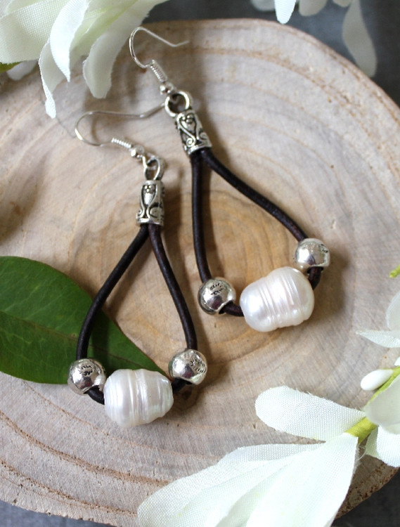 Single Loop Leather & Freshwater Pearl Earrings