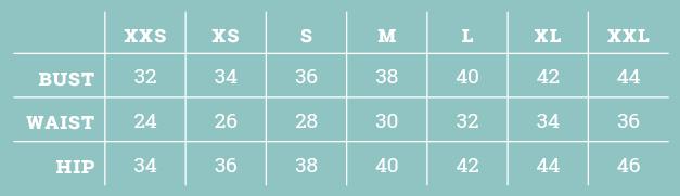 Size Chart XXS - XXL