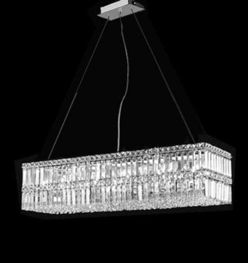 Contemporary Luxury Rectangular Linear Island Dining Room: Modern Contemporary Rectangular Linear Dining Room Crystal