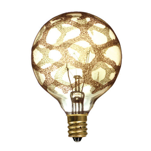 25 Watt Amber Marble Crystal Collection Globe Lamp Candelabra Base