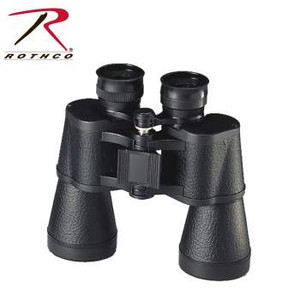 Rothco's 10 x 50 Binoculars, Power 10X, Objective, 50MM, Field of View 122M/367ft, Eye Relief 12.7MM, Exit Pupil 5MM.  The binoculars include a case as well for protection while carrying or storing.