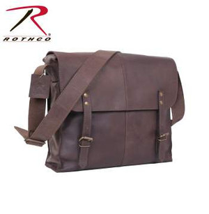 """Rothco's Brown Leather Medic Bag is made with a premium rugged leather that is both durable and stylish. The leather medic bag features a large main compartment w/interior zippered pocket, front flap w/leather strap closures, 1½"""" wide adjustable leather shoulder strap, antique brass hardware, 12½"""" x 11"""" x 3½"""""""