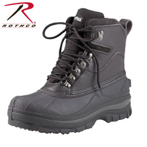 "Same as item 5059 but all black Rothco 8"" Cold Weather Hiking Boots are perfect for cold, snowy and wet conditions, these winter boots keep feet warm and dry. Rothco's patented Thermoblock technology provides insulation (200 gm) for warmth and the suede leather uppers offer comfortable protection from the elements. These cold weather boots also feature EVA midsole, taped seams for waterproofing, and rubber outsoles that provide pliable traction in cold, wet and snowy conditions."