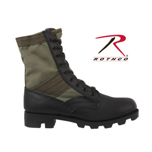"item 5080-Olive Drab Rothco's GI Style Jungle Boots Feature A Canvas & Nylon Upper, Black Leather Toe & Heel With A Black Rubber ""Panama"" Sole, 8"" High Boot. Take these classic military combat boots on a great hike outdoors, on the airsoft field or just with a pair of vintage paratrooper pants. Rothco's Jungle Boots Are Available In Sizes 1 To 15 Regular Width, 5 To 13 Wide Width, Full Size Only. The Jungle Boots Are Available In Black, O.D and now tan. Sizes 1-6 are ideal for kids. This CA Proposition 65 Warning is to provide notice that this product contains chemicals known to the State of California to cause cancer and birth defects or other reproductive harm."
