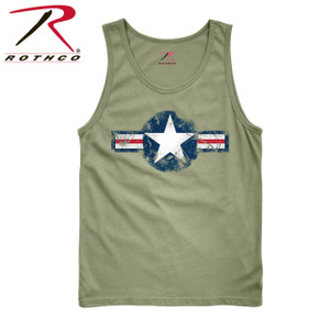 item 6952 Tank Top Rothco's Vintage Army Air Corps Tank Top features a distressed Army Air Corps image with a washed cotton/polyester material for that vintage feel and look.