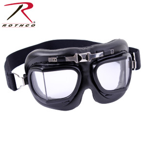 10390 Rothco's Aviator Style Goggles are replica goggles designed for open-cockpit flight. Similar to the goggles that would've been used by Air Force Pilots in WWI.